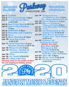 January Music Calendar